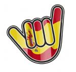 NO WORRIES Hand With Spain Spanish Country Flag Motif External Vinyl Car Sticker 105x100mm
